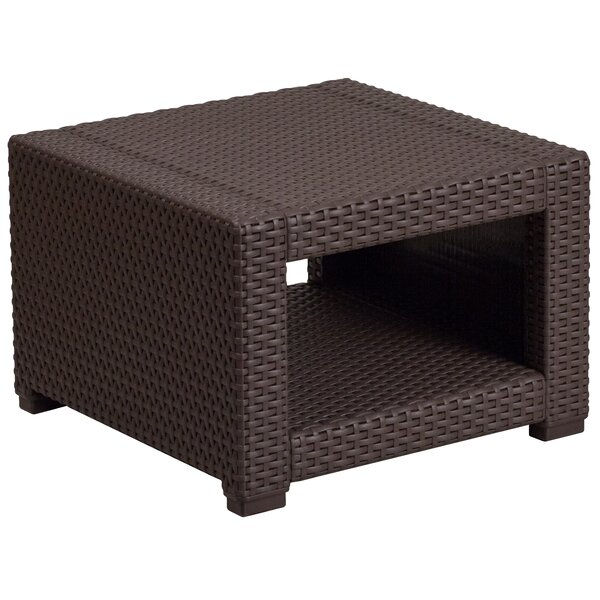 Clifford Faux Rattan Side Table by Breakwater Bay