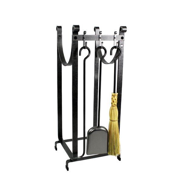 3 Piece Steel Fireplace Tool Set with Log Rack by Enclume