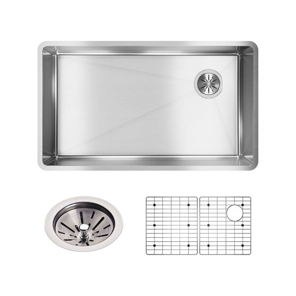 Crosstown 32L x 19W Undermount Kitchen Sink with Grid and Drain Assembly