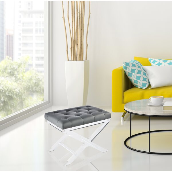 North Burnet–Gateway Tufted Synthetic Leather Accent Stool by Brayden Studio