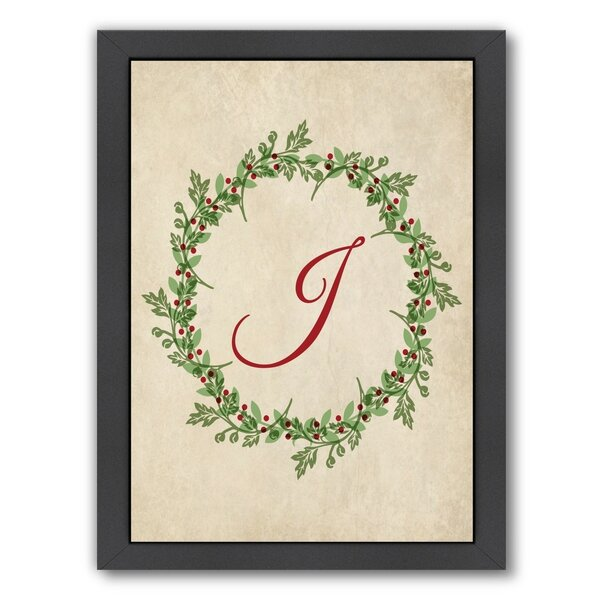 Christmas Wreath J Framed Graphic Art by The Holiday Aisle