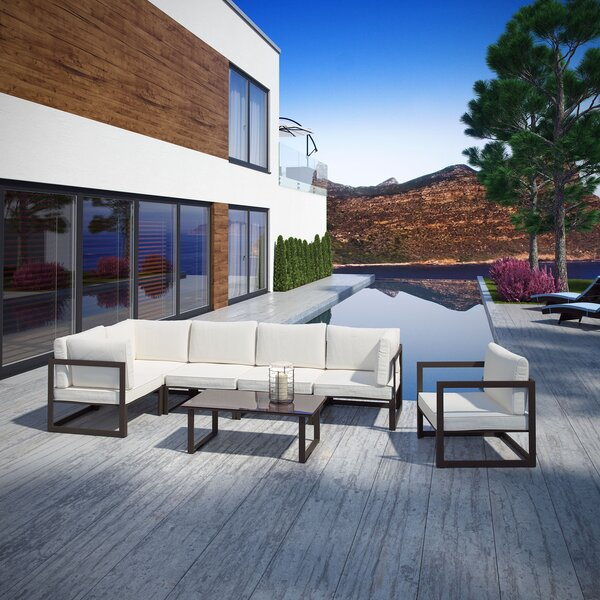 Annemarie Outdoor Patio 7 Piece Sectional Seating Group with Cushions by Modern Rustic Interiors