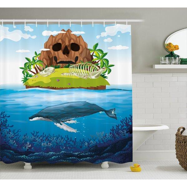 Whale Hand Drawn Ocean Rainbow Shower Curtain by East Urban Home