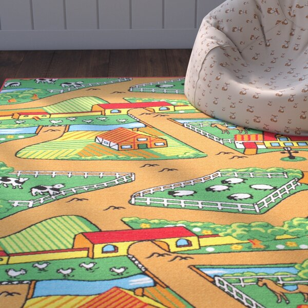 Carley Bright Green/Brown Area Rug by Zoomie Kids