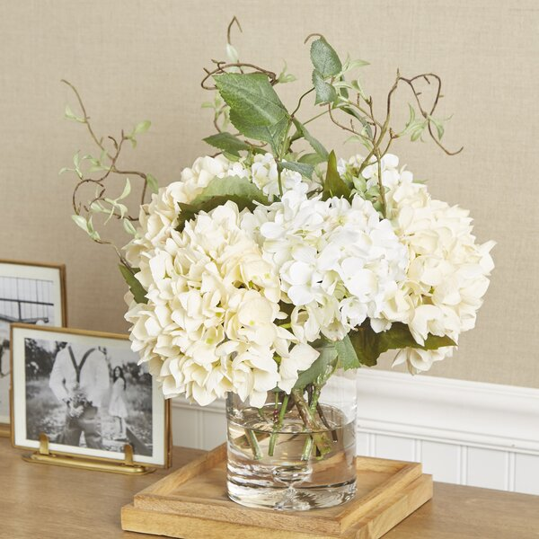 Faux Hydrangea with Vines in Vase by Birch Lane™