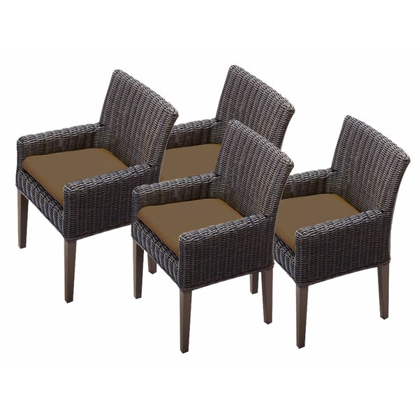 Mejia Patio Dining Chair with Cushion (Set of 4) by Rosecliff Heights