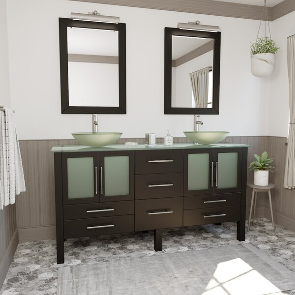 Meserve Solid Wood and Glass Vessel 64 Double Bathroom Vanity Set with Mirror
