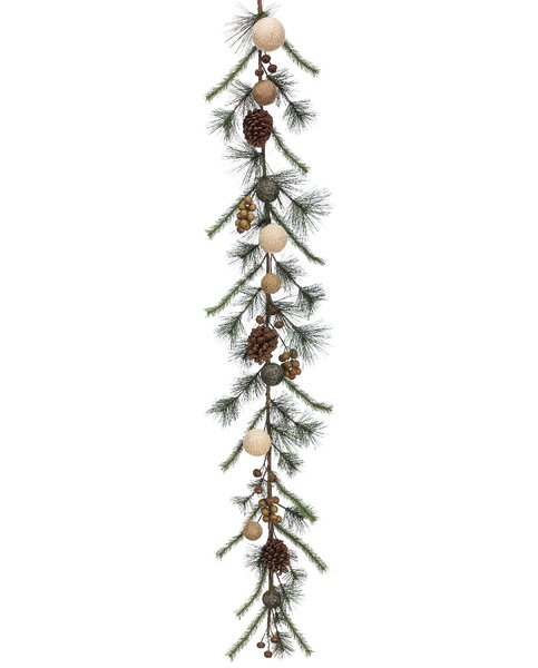 Burlap Ball, Pine Cone & Pine Garland by Silk Flower Depot