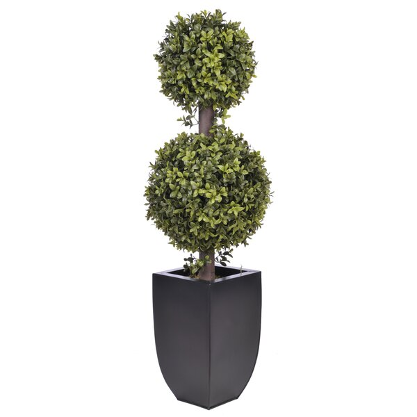 Artificial Double Ball Topiary in Planter by Mercury Row