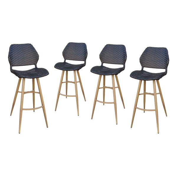 Lytle Wicker 29 Patio Bar Stool (Set of 4) by Ivy Bronx