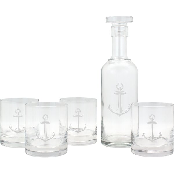 Nautical Anchor Luigi Bormioli Decanter and Rocks Glass 5 Piece Set by Susquehanna Glass