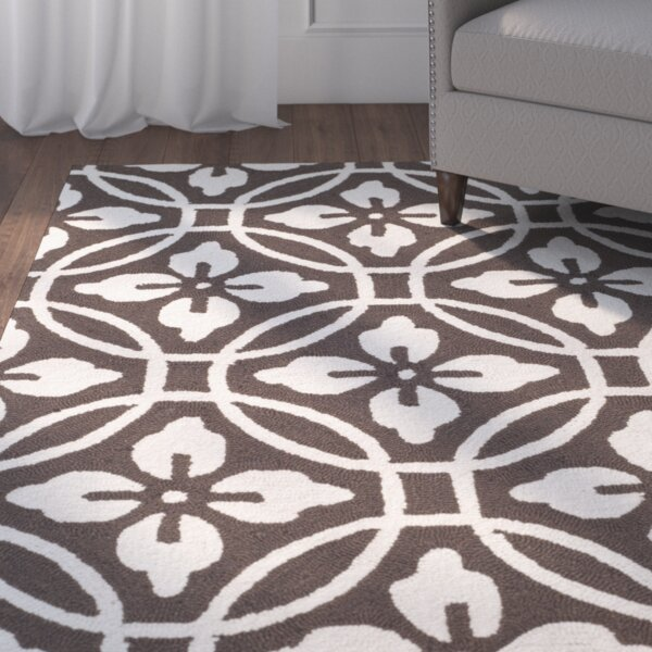 Bayou Hand-Hooked Chocolate/Ivory Area Rug by Red Barrel Studio