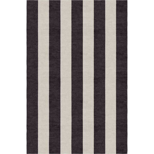 Clausen Stripe Hand-Woven Wool Silver/Charcoal Area Rug by Rosecliff Heights