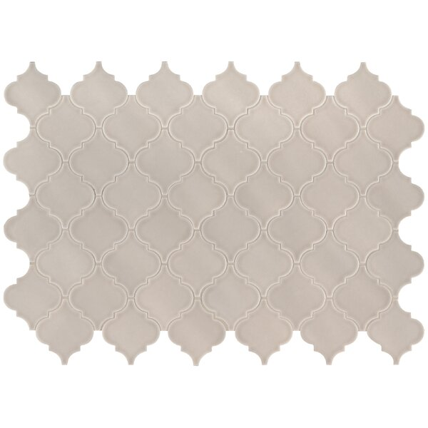 Portico Pearl Glazed Mesh Mounted Ceramic Mosaic Tile in Beige by MSI