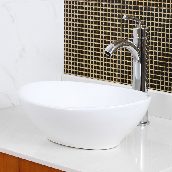 Ceramic Oval Vessel Bathroom Sink by Elite