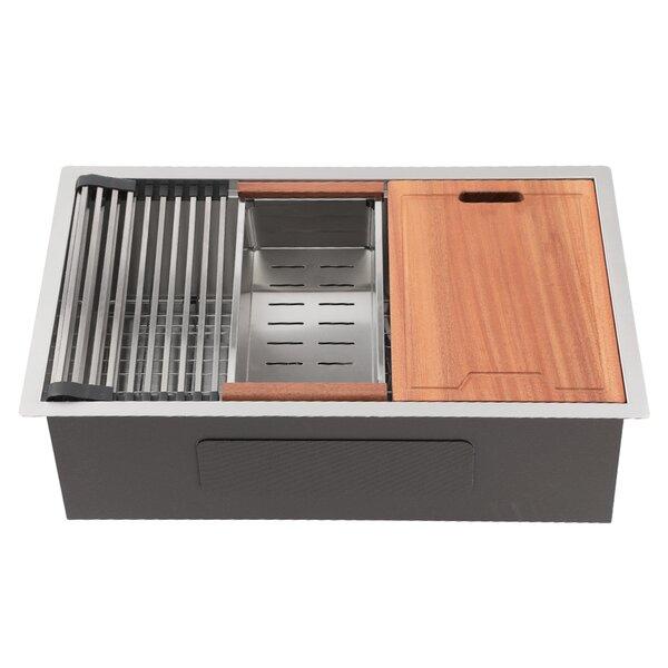 Stainless Steel Ledge Workstation Deep 33 L x 19 W Undermount Kitchen Sink with Basket Strainer