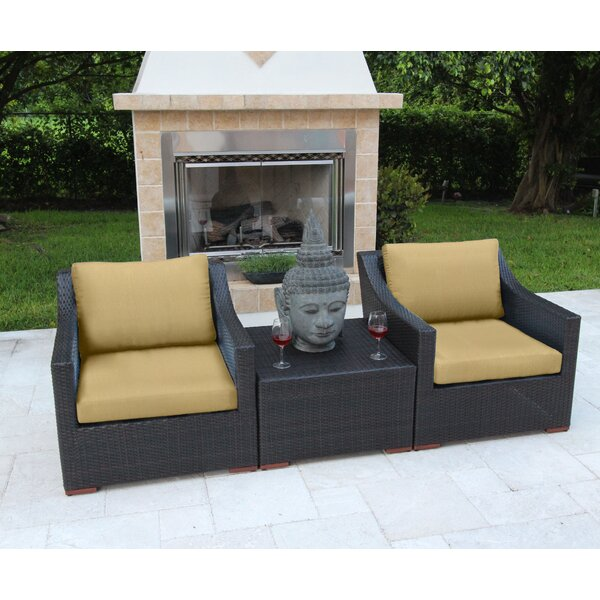 Marcelo 3 Piece Sunbrella Conversation Set with Cushions by Bellini Home and Garden
