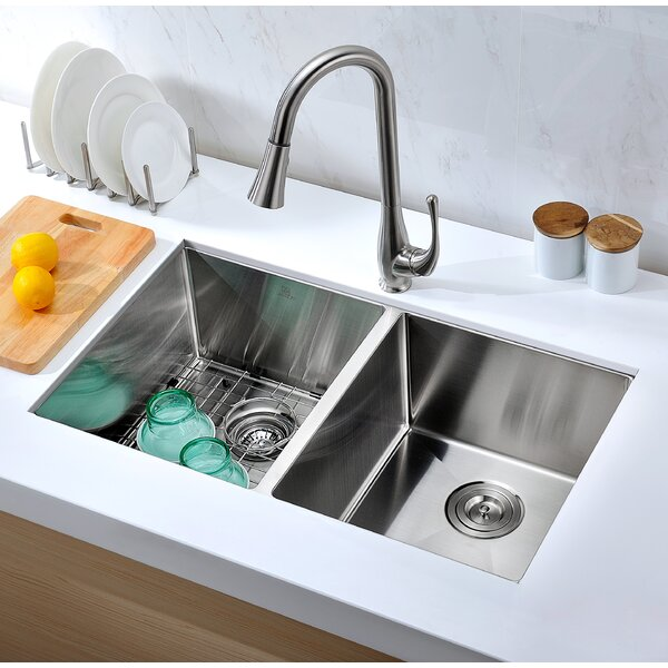 Vanguard 32 L x 19 W Double Basin Undermount Kitchen Sink with Drain Assembly by ANZZI