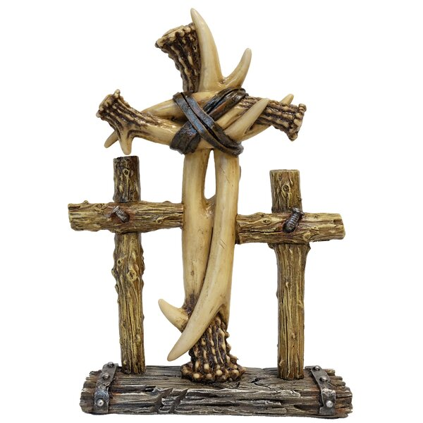Rohan Triple Faux Antler and Wood Standing Cross Sculpture by Loon Peak