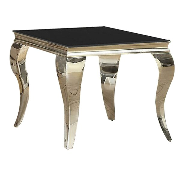 Harger Glass Top End Table by Everly Quinn Everly Quinn
