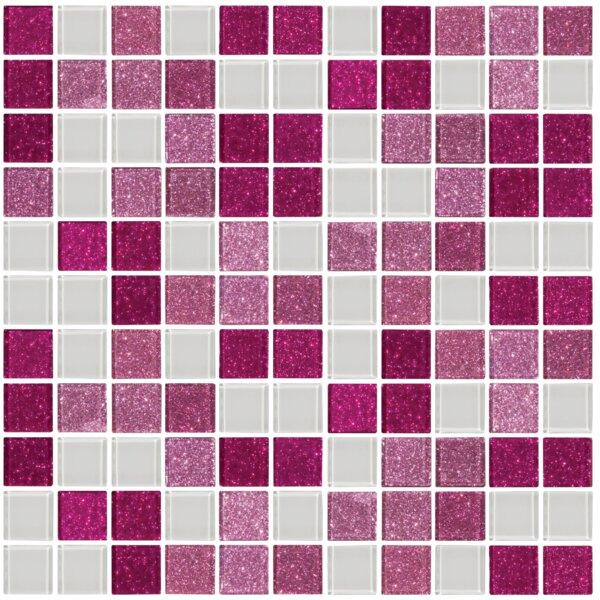 Signature Line Glass Mosaic Tile in Pink/White by Susan Jablon