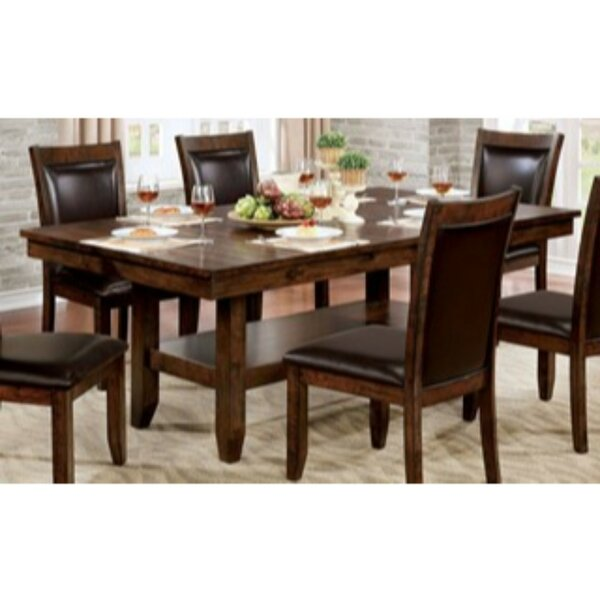 Mahle Open Bottom Shelf Solid Wood Dining Table by Millwood Pines