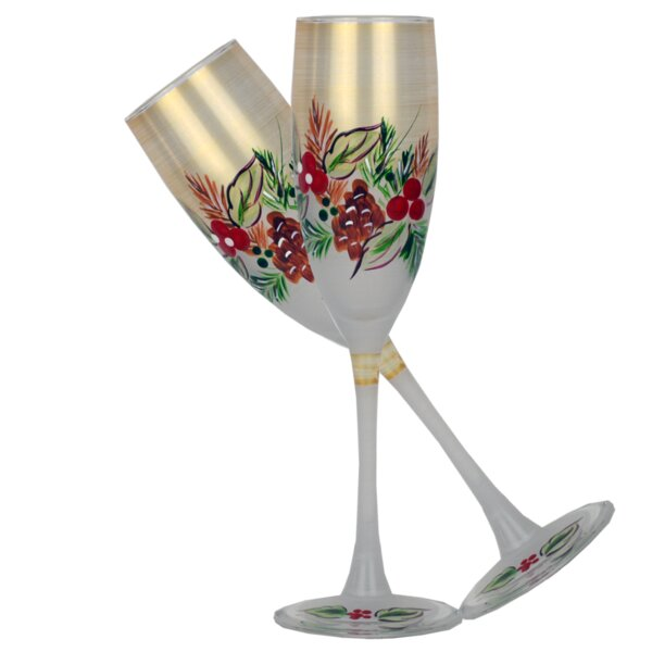 Ducharme Pine Glass 5.75 oz. Champagne Flute (Set of 2) by The Holiday Aisle