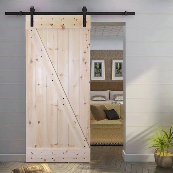 Knotty Pine Solid Wood Panelled Slab Interior Door by Calhome