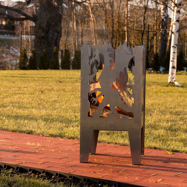 Dragon Steel Wood Fire Pit by Curonian