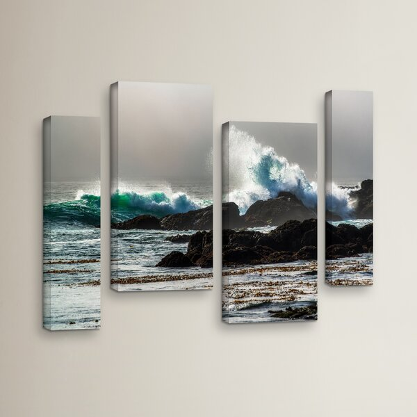 The Wave, Long Beach 4 Piece Photographic Print on Wrapped Canvas Set by Red Barrel Studio