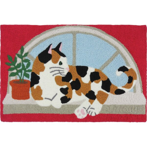 Beamond Calico Kitty Hand-Tufted Pink/Beige/Blue Indoor/Outdoor Area Rug by Winston Porter