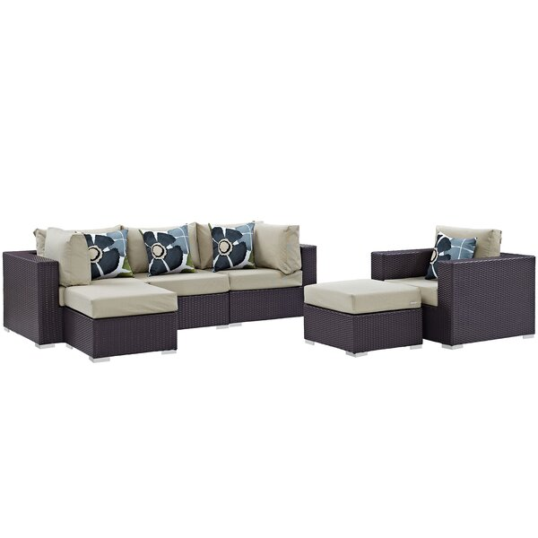Ryele 6 Piece Rattan Sectional Set with Cushions by Latitude Run