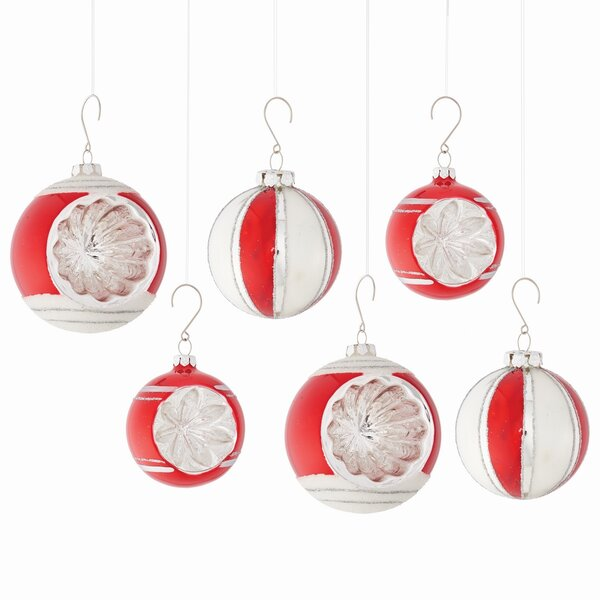 6 Piece Retro Ball Ornament Set by The Holiday Aisle