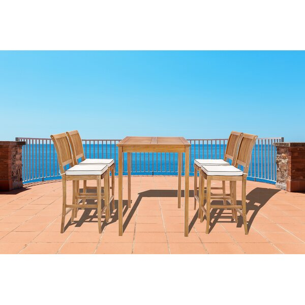 Dayne 5 Piece Teak Bar Height Dining Set with Cushions by Bay Isle Home