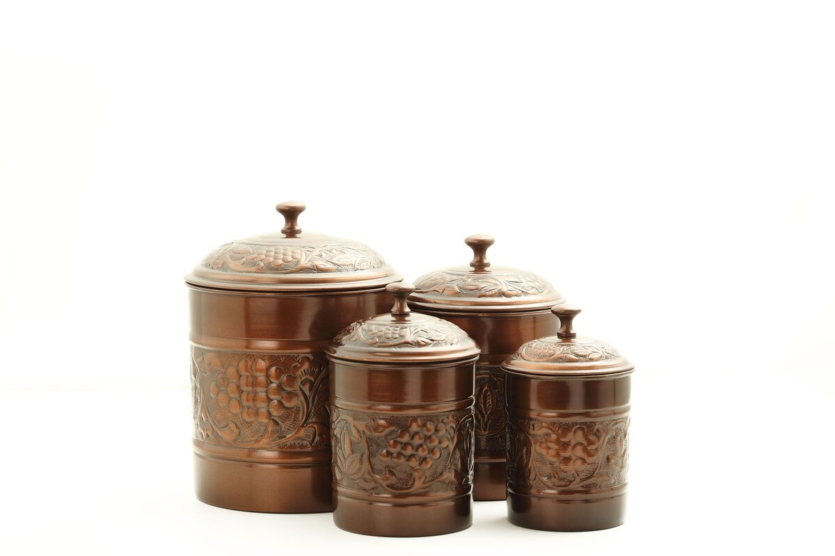Old dutch heritage 4 piece kitchen canister set reviews for Kitchen canisters set 4