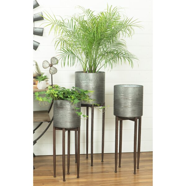 Acevedo Farmhouse 3-Piece Iron Pot Planter Set by Williston Forge