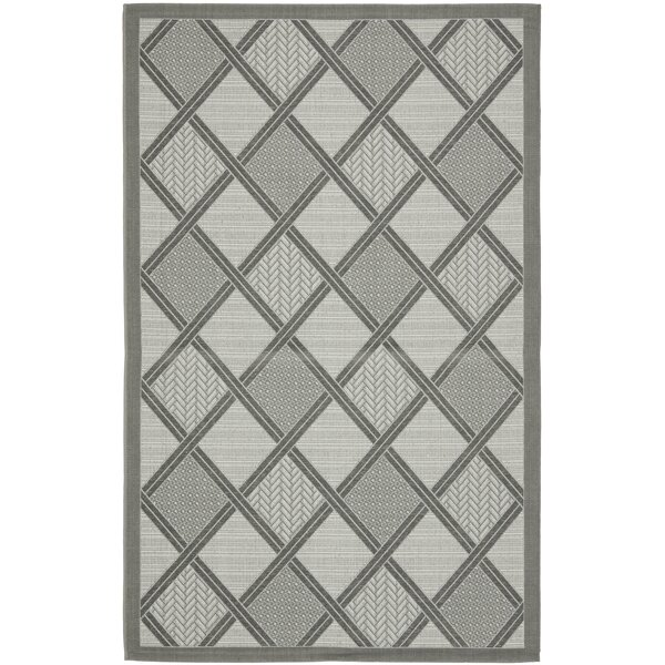 Short Light Grey / Anthracite Indoor/Outdoor Woven Rug by Winston Porter
