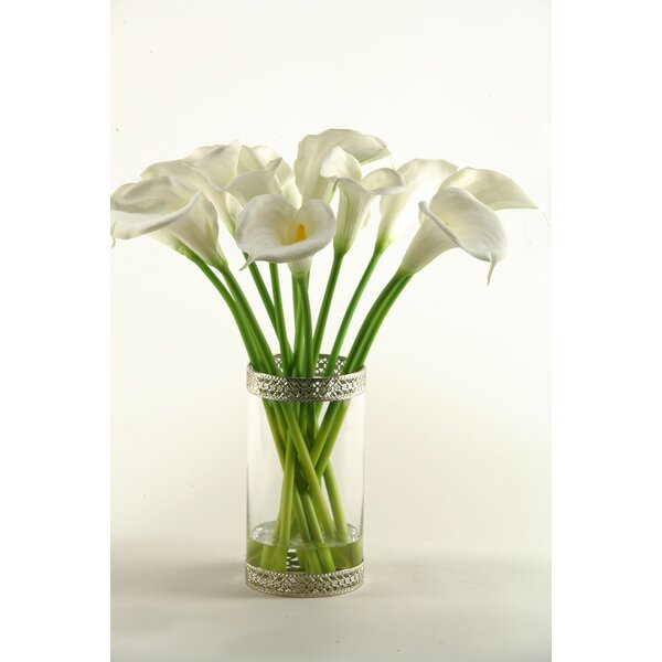 Calla Lilies in Glass Cylinder Vase by D & W Silks