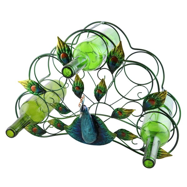 Tressie Beautiful and Colorful Peacock 5 Bottle Tabletop Wine Bottle Rack by Wine Bodies Wine Bodies