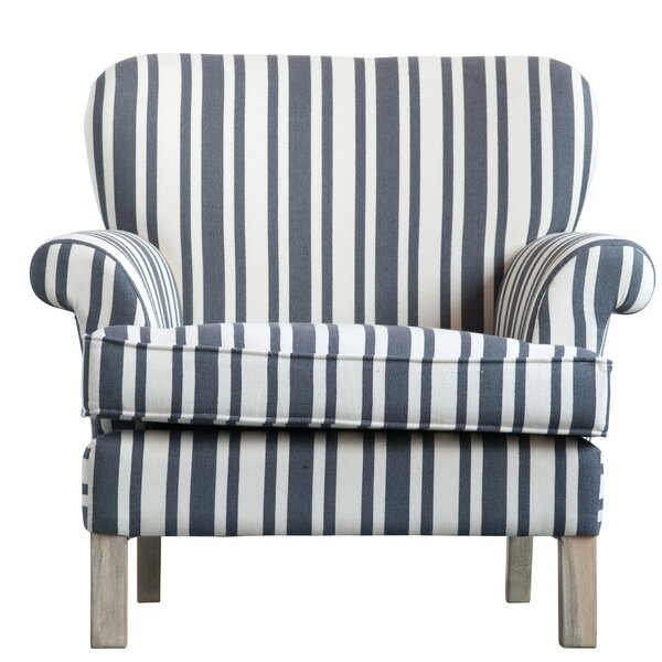 Harp Striped Upholstered Armchair by Breakwater Bay