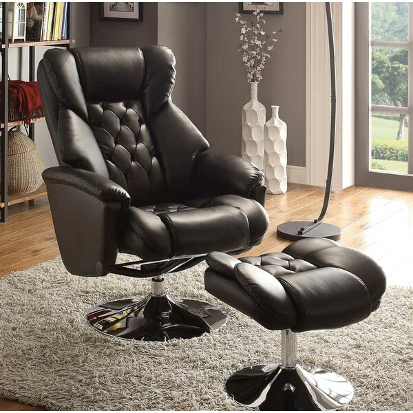 Paulene Manual Swivel Recliner with Ottoman W000897199