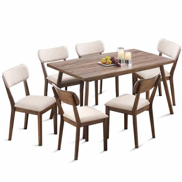 Eberhart 7 Piece Solid Wood Dining Set by George Oliver George Oliver