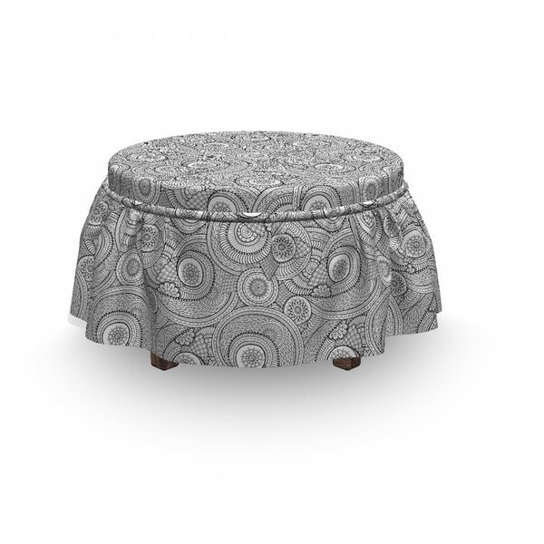 Folk Floral 2 Piece Box Cushion Ottoman Slipcover Set By East Urban Home