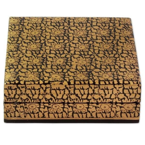 Leafy Gold Wood Decorative Box by Novica