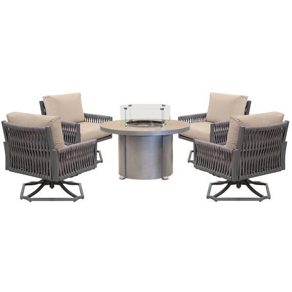 Chipps 5 Piece Sunbrella Seating Group with Cushions by Brayden Studio