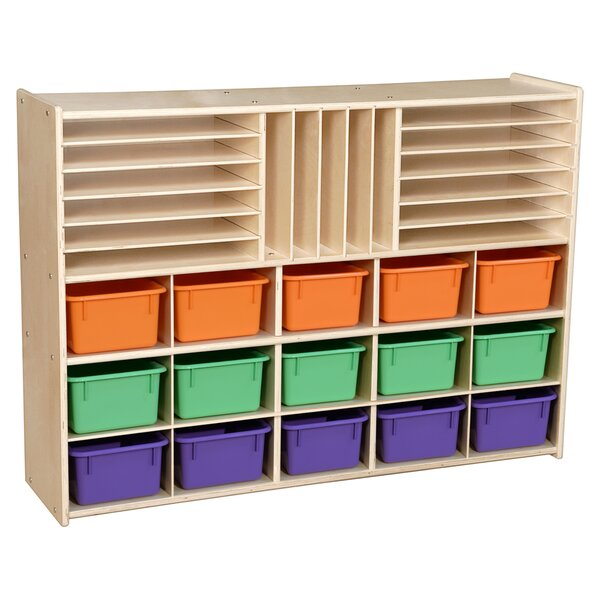 32 Compartment Cubby with Trays by Wood Designs