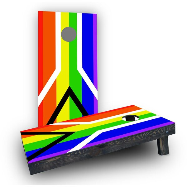 Gay Pride Rainbow Flag with Peace Sign Cornhole (Set of 2) by Custom Cornhole Boards