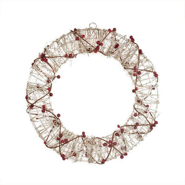Pre-Lit Glittered Rattan Berry Artificial Christmas Wreath by Northlight Seasonal