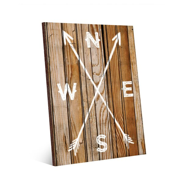 Direction Arrows on Light Wood Textual Art on Plaque by Click Wall Art