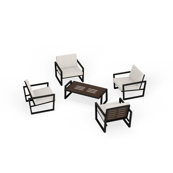 Waubun 5 Piece Sunbrella Multiple Chairs Seating Group with Cushions by Brayden Studio